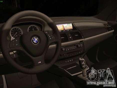 BMW X5M 2011 para GTA San Andreas vista hacia atrás