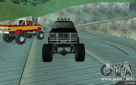 Ford Bronco Monster Truck 1985 para GTA San Andreas vista hacia atrás