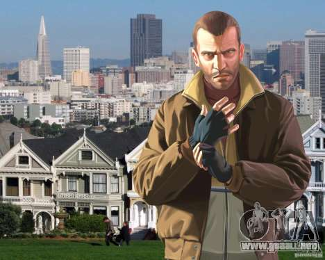 Pantalla de arranque en San Francisco para GTA 4 adelante de pantalla