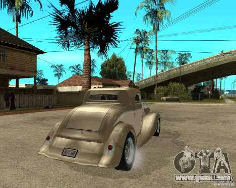 Ford 1934 Coupe v2 para GTA San Andreas vista posterior izquierda