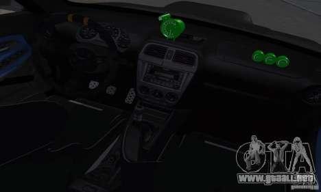 Subaru Impresa WRX light tuning para visión interna GTA San Andreas