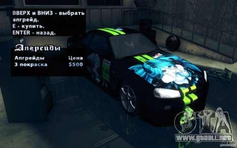 Nissan Skyline GTR R34 VSpecII para visión interna GTA San Andreas