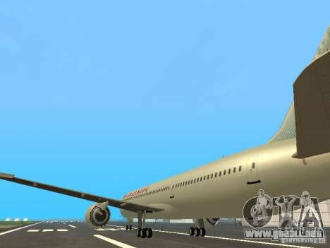 Boeing 787 Dreamliner Air Canada para GTA San Andreas vista posterior izquierda