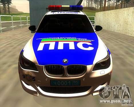 BMW M5 E60 policía para visión interna GTA San Andreas
