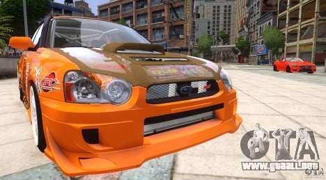 Subaru Impreza WRX STi GDB Team Orange para GTA 4 vista hacia atrás