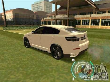 BMW X6 M Hamann Design para GTA San Andreas vista hacia atrás