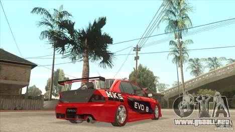Mitsubishi Evo 8 Tuned para la visión correcta GTA San Andreas