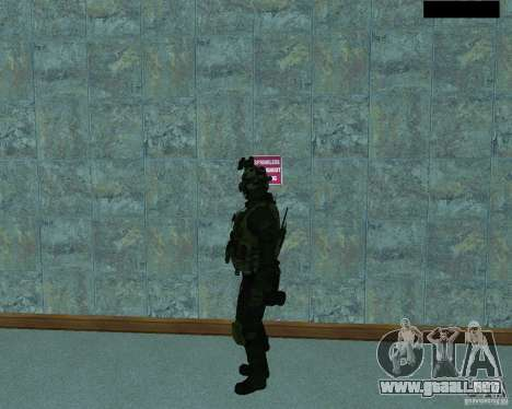 El tercer soldado de la piel Cod MW 2 para GTA San Andreas segunda pantalla