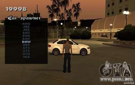 Vehicles Spawner para GTA San Andreas segunda pantalla