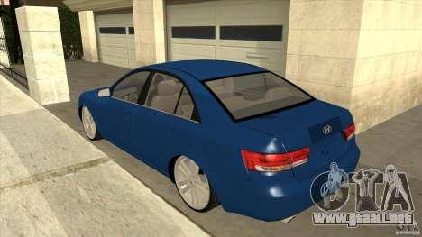 Hyundai Sonata NF para GTA San Andreas vista posterior izquierda