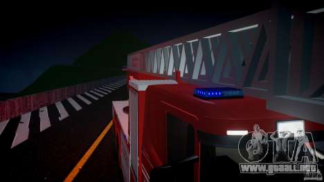 Scania Fire Ladder v1.1 Emerglights blue [ELS] para GTA 4 vista desde abajo