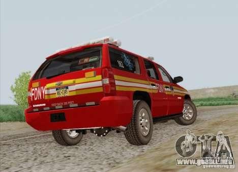 Chevrolet Suburban EMS Supervisor 862 para vista lateral GTA San Andreas