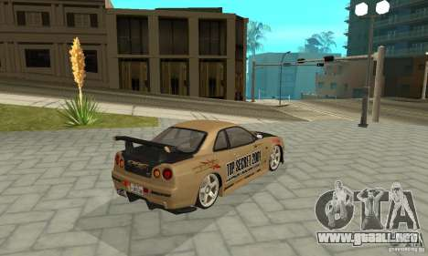 Nissan Skyline R-34 GTR para las ruedas de GTA San Andreas