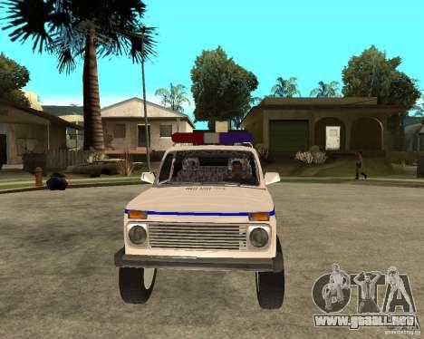 VAZ 2121 policía para GTA San Andreas vista hacia atrás