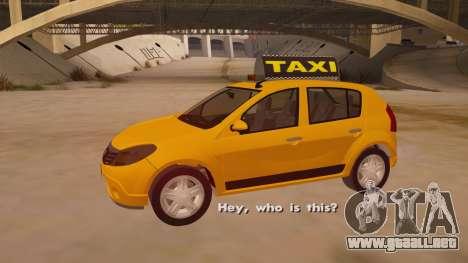Renault Sandero Taxi para vista lateral GTA San Andreas