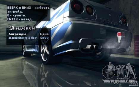 Nissan Skyline GTR R34 VSpecII para las ruedas de GTA San Andreas