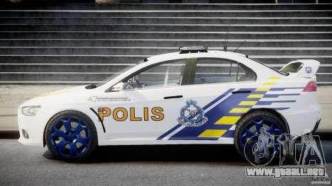 Mitsubishi Evolution X Police Car [ELS] para GTA 4 vista interior