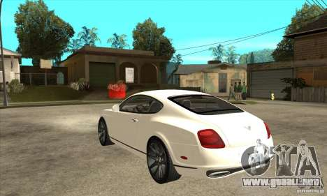 Bentley Continental Supersports para GTA San Andreas vista posterior izquierda