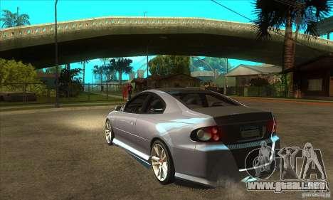 Holden Monaro CV8-R Tuned para GTA San Andreas vista posterior izquierda