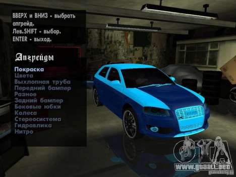 Audi S3 2006 Juiced 2 para visión interna GTA San Andreas