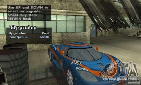 Koenigsegg CCX (v1.0.0) para vista lateral GTA San Andreas