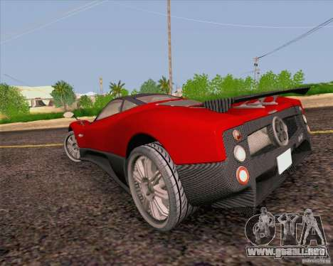 Pagani Zonda F v2 para GTA San Andreas vista posterior izquierda