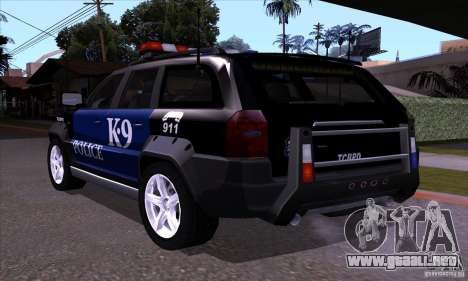 NFS Undercover Police SUV para GTA San Andreas vista posterior izquierda