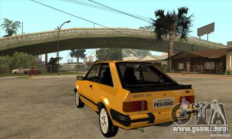 Ford Escort XR3 1986 para GTA San Andreas vista posterior izquierda