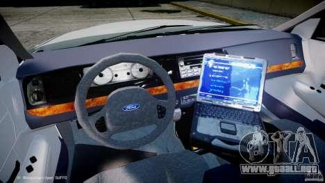 Ford Crown Victoria NYPD para GTA 4 vista hacia atrás