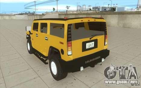 Hummer H2 para GTA San Andreas vista posterior izquierda