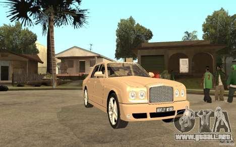 Bentley Arnage para GTA San Andreas vista hacia atrás