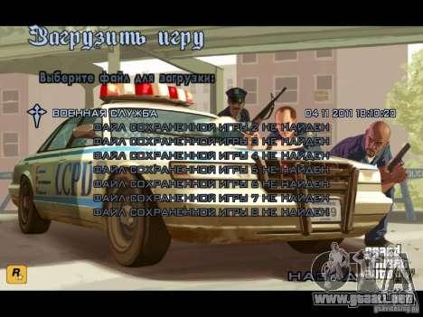 Menú como el de GTA IV para GTA San Andreas sucesivamente de pantalla