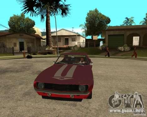 1969 Yenko Chevrolet Camaro para GTA San Andreas vista hacia atrás