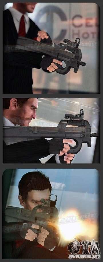 FN P90 para GTA 4 adelante de pantalla