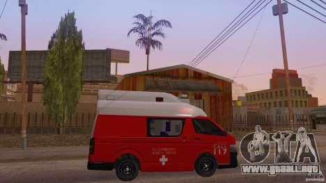 Toyota Hiace Philippines Red Cross Ambulance para la visión correcta GTA San Andreas