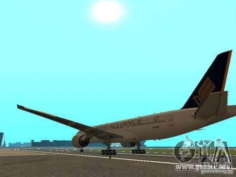 Boeing 777-200 Singapore Airlines para GTA San Andreas vista posterior izquierda