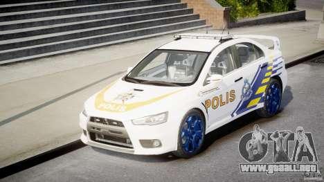 Mitsubishi Evolution X Police Car [ELS] para GTA 4 vista hacia atrás