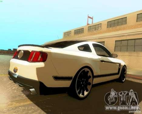 Ford Mustang Boss 302 2011 para GTA San Andreas vista posterior izquierda