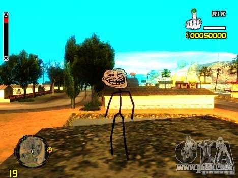 TrollFace skin para GTA San Andreas segunda pantalla