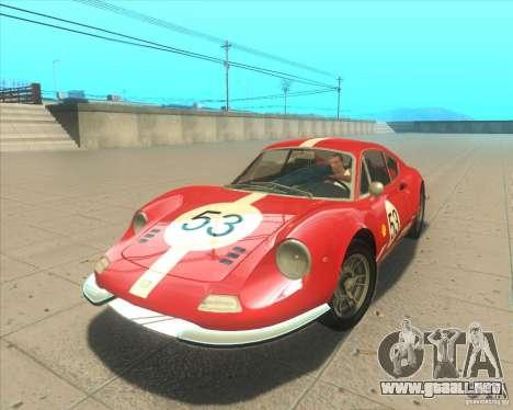 Ferrari Dino 246 GT para GTA San Andreas vista hacia atrás