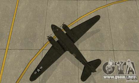 C-47 Skytrain para GTA San Andreas vista hacia atrás