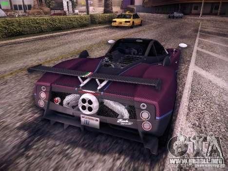 Pagani Zonda Tricolore 2010 para GTA San Andreas vista hacia atrás