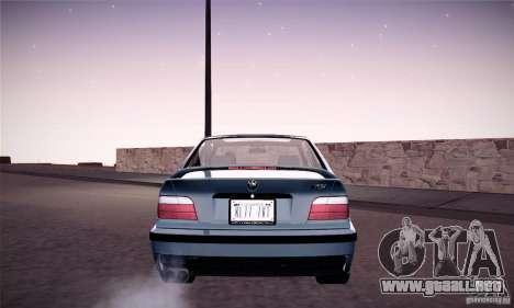 BMW E36 M3 Coupe - Stock para GTA San Andreas vista posterior izquierda