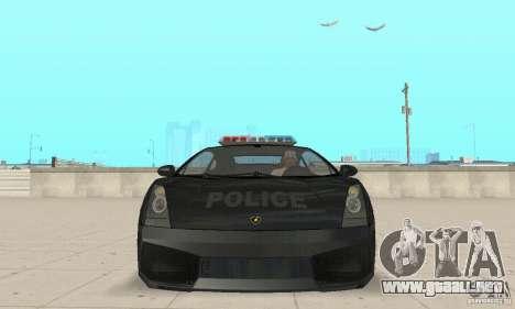 Lamborghini Gallardo Police para GTA San Andreas vista hacia atrás