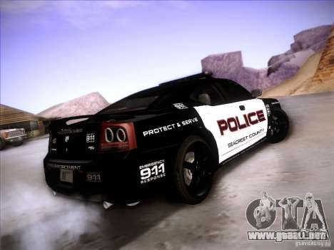 Dodge Charger RT Police Speed Enforcement para GTA San Andreas vista posterior izquierda