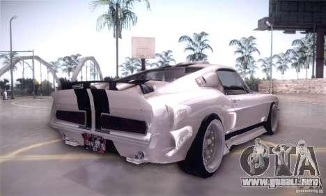 Shelby GT500 para GTA San Andreas vista hacia atrás