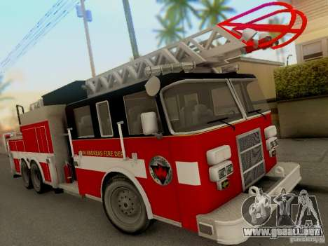 Pierce Firetruck Ladder SA Fire Department para GTA San Andreas left