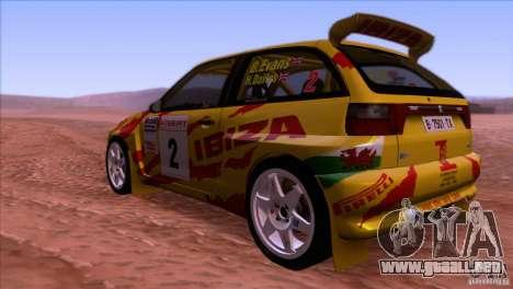 Seat Ibiza Rally para GTA San Andreas vista hacia atrás