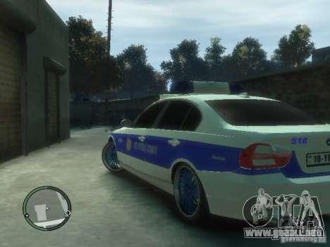 BMW 320i Police para GTA 4 Vista posterior izquierda