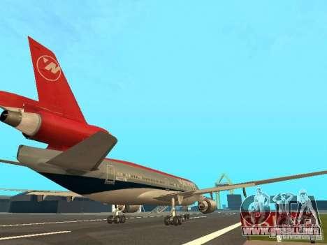 McDonell Douglas DC 10 Nortwest Airlines para GTA San Andreas vista hacia atrás